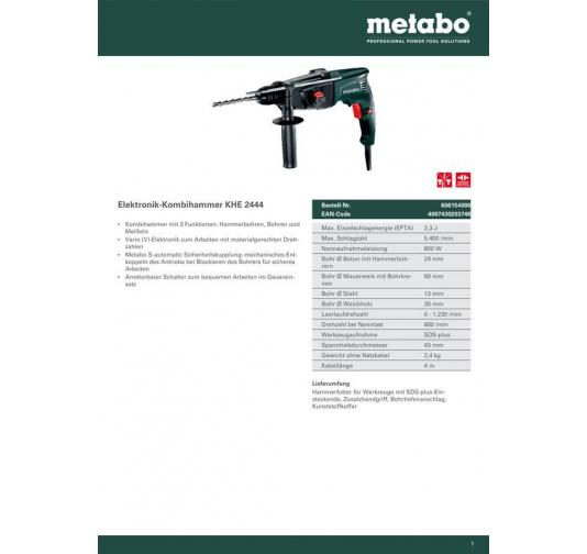 Bohrhammer im Koffer Metabo KHE 2444 Kombihammer 606154000